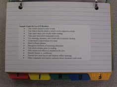 Organizing goals for the Fountas and Pinnell reading levels
