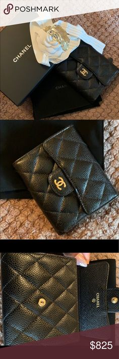 c1528ebf2167 Chanel Quilted Caviar Compact Trifold Wallet Authentic CHANEL classic  trifold wallet. Caviar leather with gold