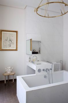 Bath designed by Pierre Yovonovitch.