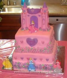 Homemade Disney Princess Cake: I made this Disney Princess cake for my daughter's 4th birthday. Since it was only my second time making fondant, I had some trouble with it tearing ando