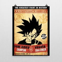 """Dragon ball z inspired """"Goku vs Vegeta"""" Poster by Geek me that. Dragon ball """"The greatest fight in history"""" Poster Goku vs Vegeta Museum-quality posters made on thick, durable, matte paper. A statement in any room. These puppies are printed on archival, acid-free paper. - Printer Using Epson UltraChrome water based HDR ink-jet technology Basis Weight: 192 gsm Media Thickness: 10.3 mil (0.26 mm) ISO Brightness: 104% Opacity: 94% -Luster Paper Epson Ultra Premium Luster Photo Paper Between…"""