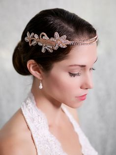 Rose Gold Crystal Headband Rosegold Forehead by GildedShadows, $112.00...Rose Gold Crystal Headband, Rosegold Forehead Chain, Rhinestone Crystal Headpiece, Tiara, Bridal Halo, Bridal head piece, STYLE 221