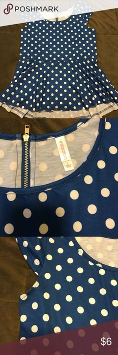 Polka Dot Peplum Top NEW without tags; never worn! Xhilaration Peplum Top (royal blue with white polka dots.)  Super cute zipper detail on back, very flattering shape! Xhilaration Tops Blouses