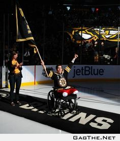 Boston Marathon bombing victim Jeff Bauman was honored as the flag bearer for tonight's Bruins game. Awesome stuff.
