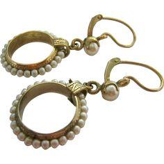 8K-9K Gold Victorian Pearl Drop Earrings found at www.rubylane.com @rubylanecom