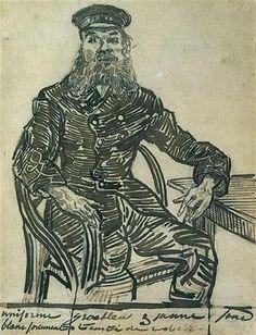 Joseph Roulin, Sitting in a Cane Chair, Three-Quarter-Length - Vincent van Gogh