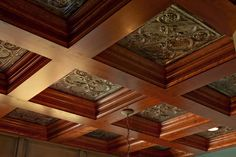 Coffered Ceiling  home office with tin insets