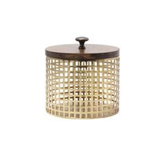 Glenda Perforated Metal Canister with Solid Wood Lid (Round Brown and Gold)