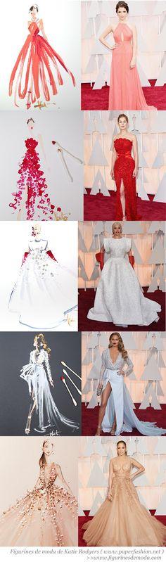 Figurines de moda de los OSCARS 2015 creados por Katie Rodgers de www.paperfashion.net // www.figurinesdemoda.com #Oscars2015 #fashion #sketches #figurines