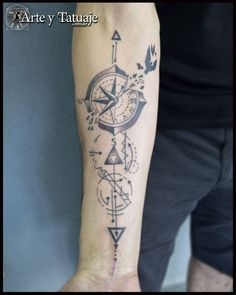 Beautiful Tattoo design made with the client, made by Daniel in Wp: 11262144 compass Compass Tattoos Arm, Upper Arm Tattoos, Cool Forearm Tattoos, Arrow Tattoos, Body Art Tattoos, Hand Tattoos, Zen Tattoo, Nature Tattoo Sleeve, Tattoo Sleeve Designs