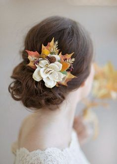 fall hair accessories autumn wedding rustic bridal by thehoneycomb.  Photo by…