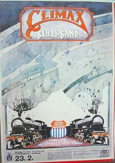 Original concert poster for the Climax Blues Band in Germany. 24 x 34 on paper. Factory folds and pin holes.
