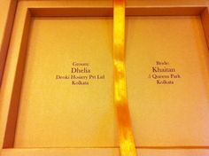 Boxed Indian Wedding Invitation in mustard with satin ribbon by www.hyegraph.com | Hyegraph