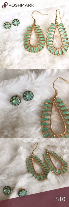 Jade-esque earring bundle💎💚 (not UO) Bought from world market. Never worn :) these earrings resemble jade but they are probably not actual jade as I am not sure that world market sells precious gemstones? Urban Outfitters Jewelry Earrings