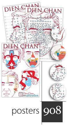 Facial reflexology chart and Dien Chan facial map of points. Schémas de réflexologie faciale - Dien Chan et cartes de points. Esquemas de reflexología facial y mapas de puntos de la Facioterapia.