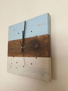 Pastel Clock Wooden Wall Clock Reclaimed Wood Wall Clock