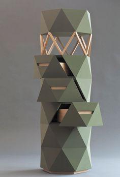 Cabinet by Stefan Jocham Origami Furniture, Diy Furniture Projects, Furniture Decor, Furniture Design, Tee Design, Origami Tower, Paper Installation, Column Design, Bookshelf Design