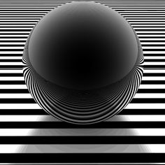 """The folding and warping of space-time."" Black sphere on stripes. @Karen Jacot Jacot Jacot Howell via Penelope Martin"
