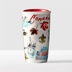 A double-walled ceramic mug celebrating iconic images and emblems of Canada. Part of the Starbucks<sup>®</sup> Local Collection.