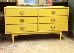 indie home austin mid-century furniture yellow dresser painted