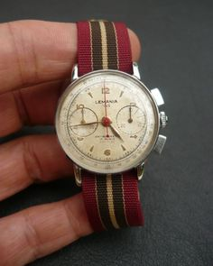 Vintage Lemania 105 Chronograph Wrist Watch 17J Stainless Steel Serviced Swiss