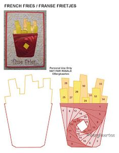 Irisvouwen: French Fries / Franse Frietjes Iris Folding Pattern, 4th November, Folded Cards, Folklore, Fancy, Christmas, Crafts, Irish, Patterns