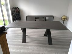Fixed version of our dining table Xenon with Blaze Dark ceramic top and graphite legs. Available in other sizes. Delivered to our client in Herts. Leather Bed, House Extensions, Sofa Design, Modern Bedroom, Contemporary Furniture, Sideboard, Graphite, Dining Bench, Sofas