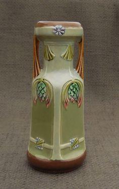 Gorgeous SECESSIONIST Antique Green VASE...MOULDED Decoration...Art Nouveau Elegant Ornament...Vintage Flower Vase Home Decor! by SlimandSugar on Etsy