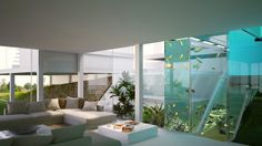 indoor aquaponic's aquarium and swimming pool.. visible from downstairs entertainment space. MSA glass-house Sustainable architecture, New Zealand