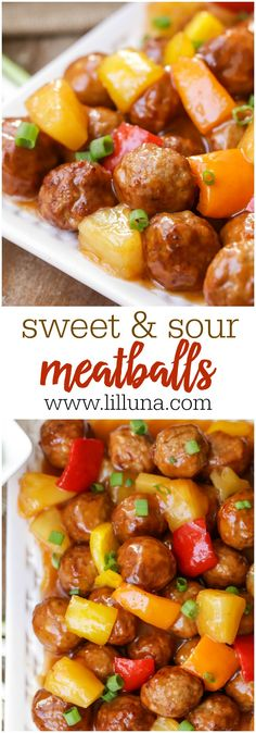 Sweet and Sour Meatballs Sweet and Sour Meatballs - frozen meatballs and pineapple chunks covered in a DELICIOUS homemade sweet and sour sauce! A recipe the whole family will love! Sweet N Sour Meatball Recipe, Frozen Meatball Recipes, Sweet And Sour Meatballs, Sweet And Sour Recipes, Chicken Meatball Recipes, Dinner With Meatballs, Meatball Dinner Ideas, Meatball Meals, Sweet And Sour Beef