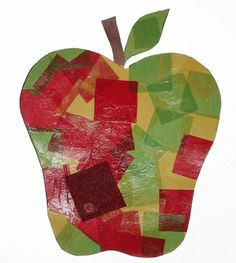 Apple crafts: Tissue Paper Apple. For a high gloss finish, paint the top with watered-down Elmer's glue or Modge Podge.  FREE pattern.