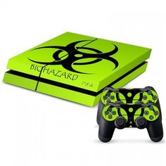 Playstation 4 Console Skin & Remote Controllers Skin - Green Light Biohazard Sticker