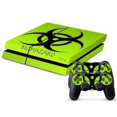 Playstation 4 Console Skin & Remote Controllers Skin - Green Light Biohazard Sticker