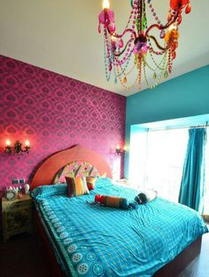 Teal and Fuschia themed bedroom