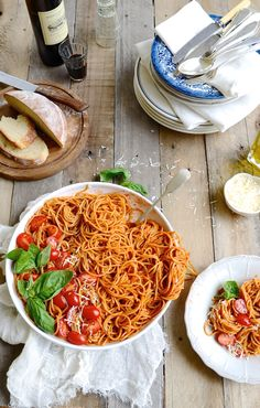 SPAGHETTI WITH MEDITERRANEAN ROASTED TOMATO SAUCE