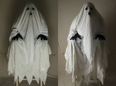 Halloween Kostüme selber-machen-geist-gespenst-gruselig-schwarze-handschuhe