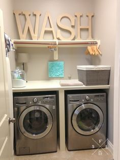DIY laundry room wash dry and fold station tutorial with images and resources.
