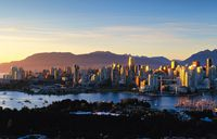 Stunning view of the downtown Vancouver skyline and the picturesque North Shore Mountains.