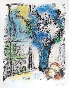 """Marc Chagall, """"le bouquet bleu"""", lithographie, 1974"""