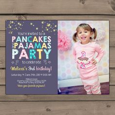 Printable pancakes and pajamas party invitation digital file pancakes and pajamas party invitation by anietillustration on etsy filmwisefo