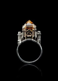 Cathedral Ring with citrine and diamonds
