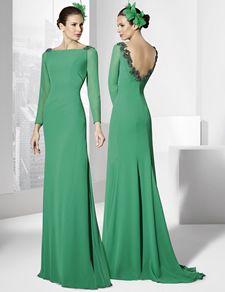 Trajes de fiesta largo color verde menta en gasa.