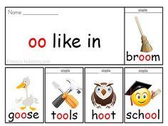 oo words - FREE & Printable -phonics flip book - Words with oo in them #phonics #iteachtoo