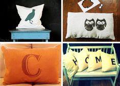 diy stenciled pillows