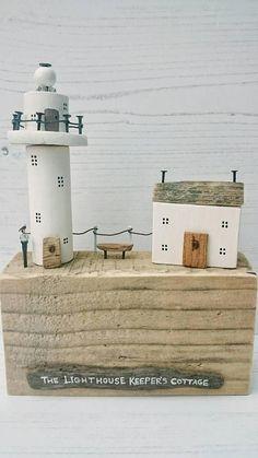 Wood Lighthouse, Driftwood House, Keepers Cottage, Driftwood Art, Wooden Sculpture, Original Art, Driftwood Sails, Coastal Art, Nautical Art
