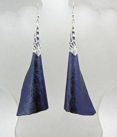 Long Leather Blue Dangle Earrings  Metallic by BumbleberryJewelry, $20.00  #leatherearrings
