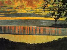 Felix Vallotton (Swiss, - Sunset, yellow and green sky Pierre Bonnard, Abstract Landscape, Landscape Paintings, Edouard Vuillard, Toulouse, New Art, Oil On Canvas, Illustration Art, Illustrations