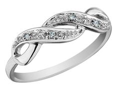 Infinity Diamond Promise Ring in 10K White Gold - My Jewelry Box