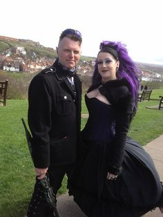 #Goth couple in Military/industrial Goth and Neo-Victorian at Whitby Gorhic Festival