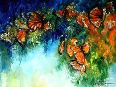 Monarch Butterfly Abstract - butterfly, marcia baldwin, monarch, baldwin, painting, art, abstract, artwork